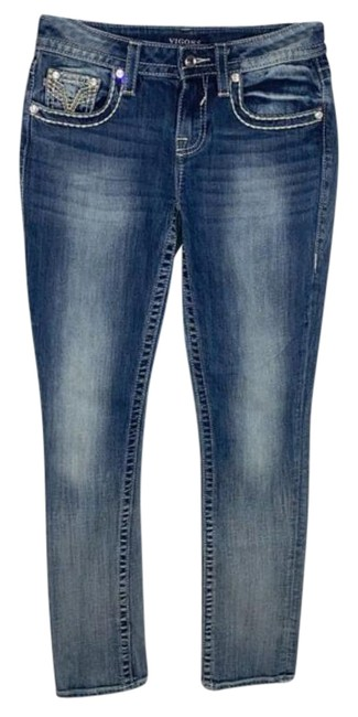 Item - Blue Embellished Heritage Fit Straight Leg Jeans Size 25 (2, XS)