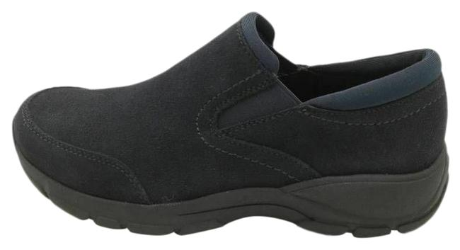 Item - Blue Womens All Weather Slip On Leather Suede Moc Toe Wedges Size US 8.5 Wide (C, D)