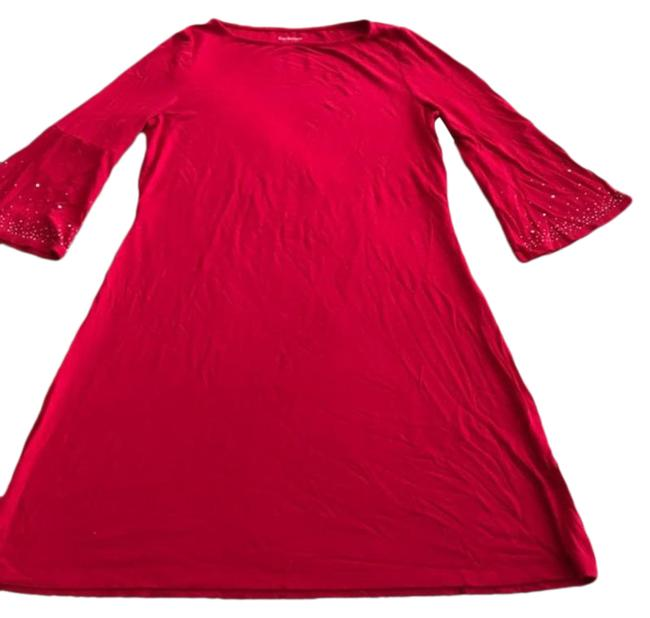 Item - Red Boatneck Bell Sleeve Sparkly Shift Mid-length Work/Office Dress Size 6 (S)