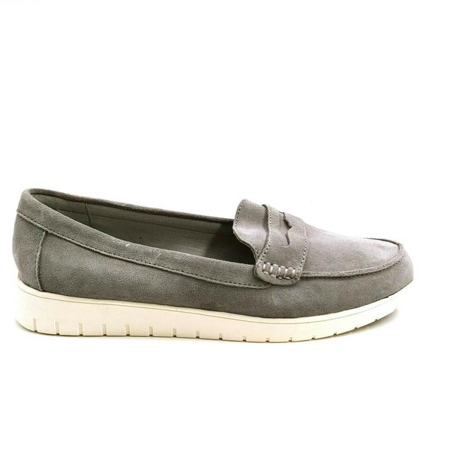 Item - Tan Womens Suede Lightweight Comfort Penny Loafers Silver Graph Flats Size US 10 Wide (C, D)