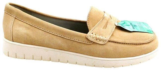 Item - Tan Womens Suede Lightweight Comfort Penny Loafers Desert 7 Flats Size US 7.5 Wide (C, D)