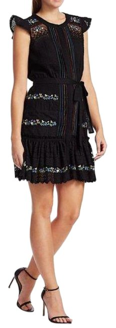Item - Green Black In Chain Embroidery Short Casual Dress Size 8 (M)