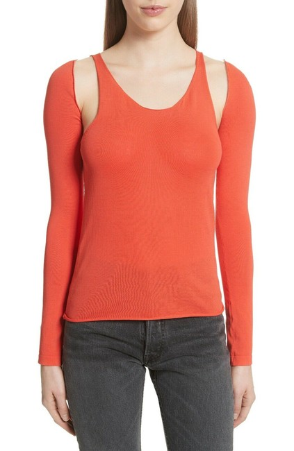 Item - Orange L Ribbed with Detachable Sleeves Tank Top/Cami Size 12 (L)