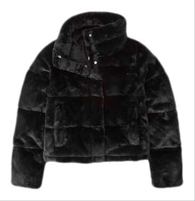 Item - Black Faux Fur Mini Puffer Coat Size 4 (S)