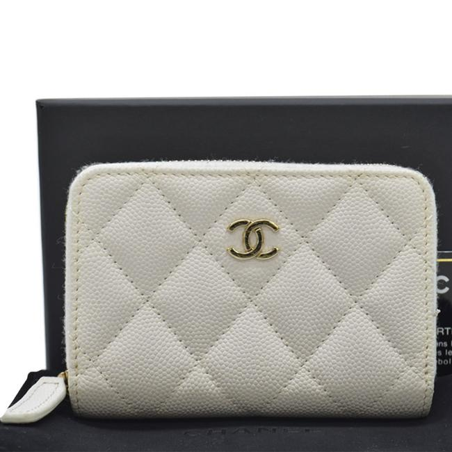 Item - White Coin Case Coco Mark Gold Leather Purse Card Ladies Wallet