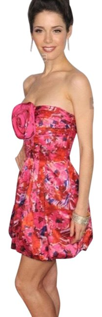 Item - Pink Purple Red Floral Strapless Mini Short Cocktail Dress Size 2 (XS)
