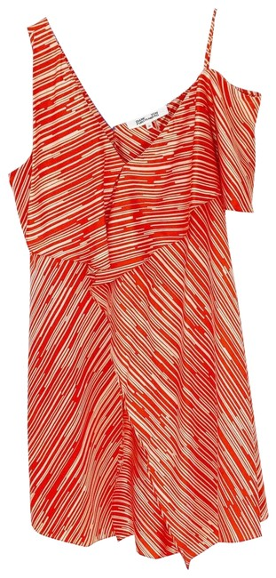 Item - Red Striped Asymmetrical Ruffle Front Silk Short Cocktail Dress Size 12 (L)