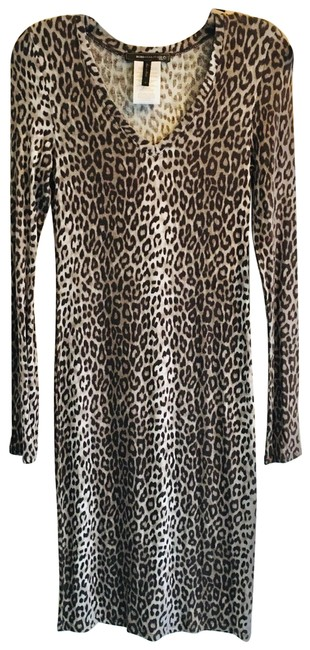 Item - Blk Grey Cheetah Comes with Free Bcbg Earrings Mid-length Night Out Dress Size 10 (M)