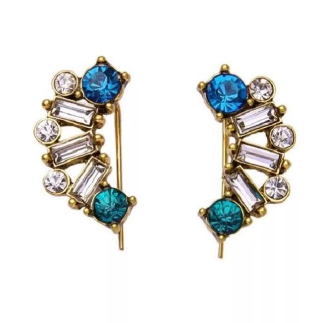 Item - Blue & Gold Crystal Climber Earrings