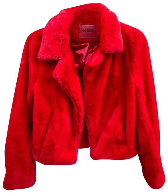 Item - Red Cropped Faux Jacket Coat Size 6 (S)