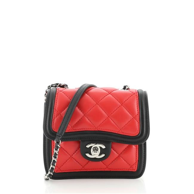 Item - Classic Flap Graphic Quilted Calfskin Mini Black Red White Leather Cross Body Bag