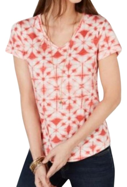 Item - Pink White Petite Cotton Printed Ps T-shirt Tee Shirt Size 4 (S)