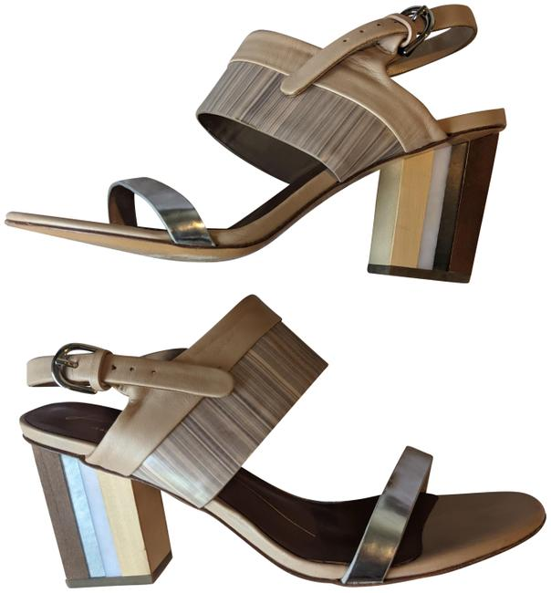 Item - Nude Blush Gray Silver Stacked Heel Sandals Size EU 39 (Approx. US 9) Regular (M, B)