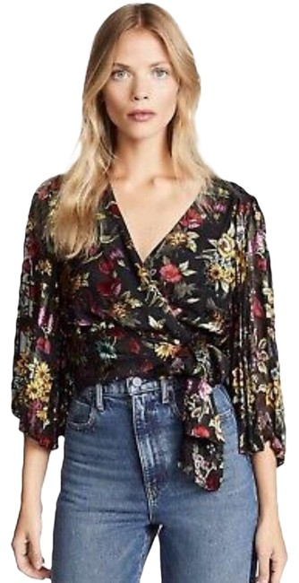 Item - Black Red Green XS Silk Blend Floral Blouse Size 2 (XS)