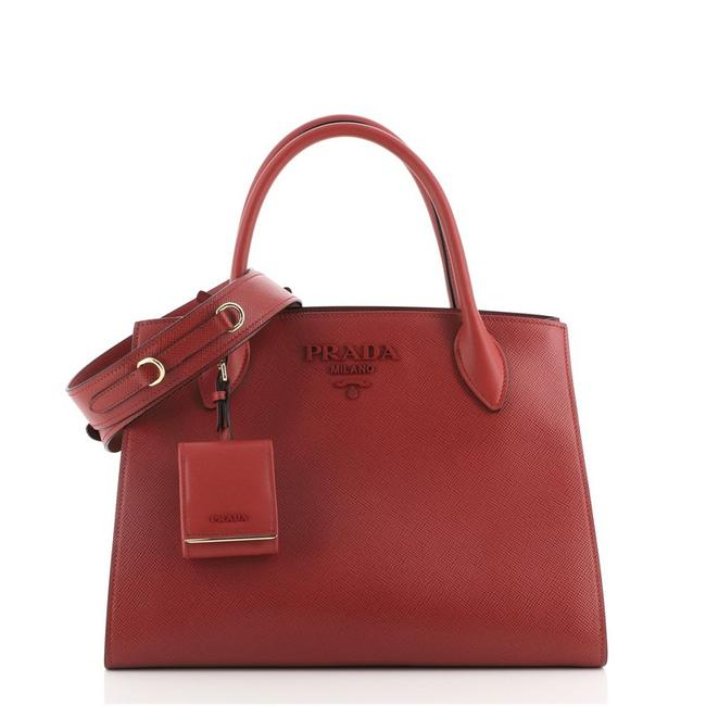 Item - Monochrome Tote Saffiano with City Calf Medium Red Leather Satchel