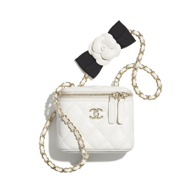 Item - Case Small Vanity with Chain White Lambskin Leather Cross Body Bag