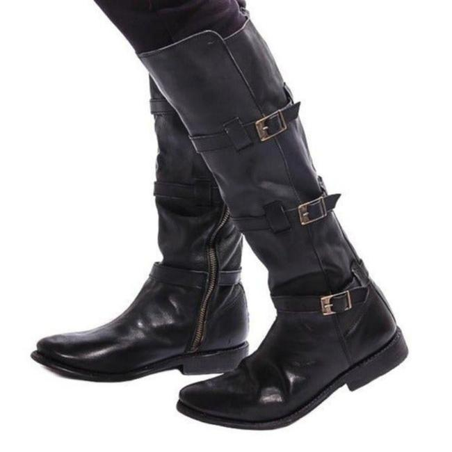 Item - Black Kitty Buckle Riding Boots/Booties Size US 6.5 Regular (M, B)