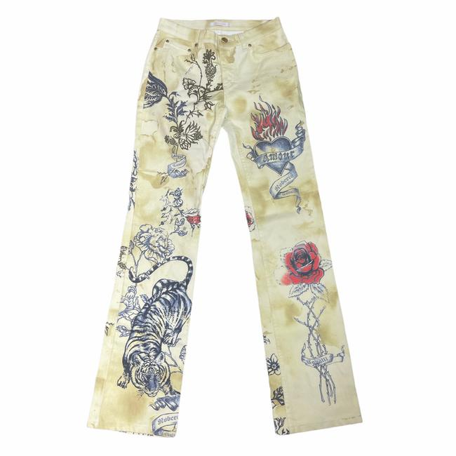 Item - Gold White Tiger and Amour Tattoo Boot Cut Jeans Size 8 (M, 29, 30)