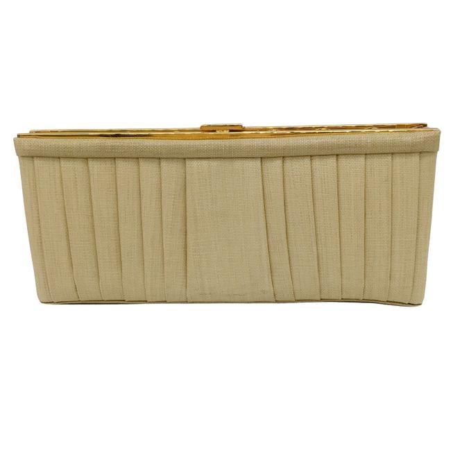 Item - Woven Pleated Tan and Gold Clutch