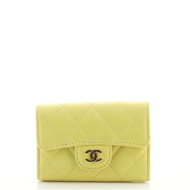 Item - Yellow 4 Key Holder Quilted Lambskin Wallet