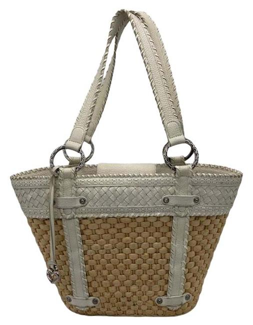 Item - Fontaine Woven and Leather Tan & White Straw Shoulder Bag
