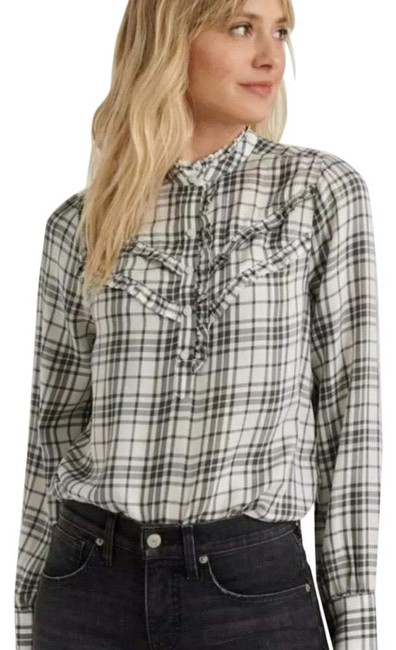 Item - Grey and White Elsa Plaid Popover Blouse Size 4 (S)