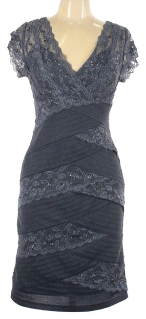 Item - Gray Embroidered Mid-length Cocktail Dress Size Petite 10 (M)