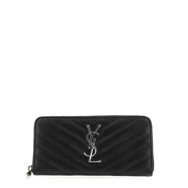 Item - Black Classic Monogram Zip Around Matelasse Chevron Leather Wallet