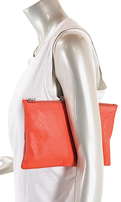 Item - Collection Persimmon Pebble Zip Pouch Red Leather Clutch