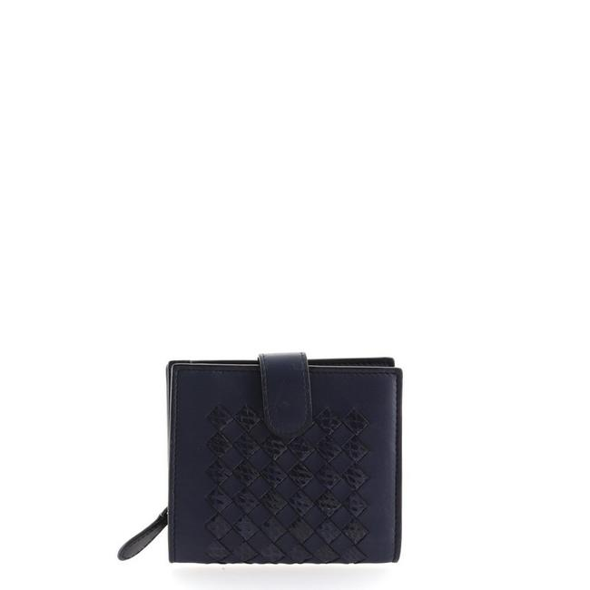 Item - Blue French Intrecciato Nappa with Snakeskin Compact Wallet