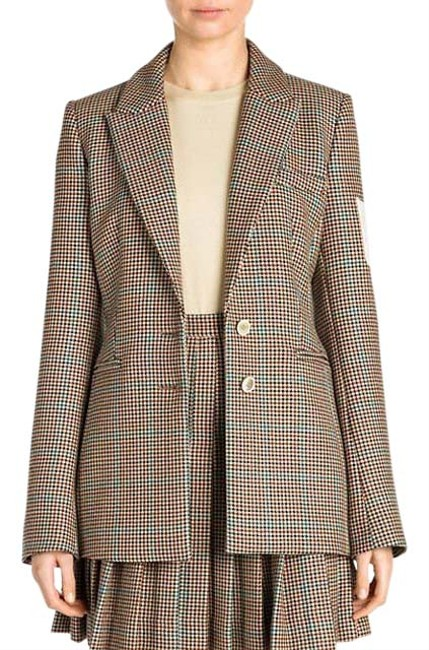 Item - Brown Off White Checked Virgin Wool Jacket 42/6 Blazer Size 6 (S)