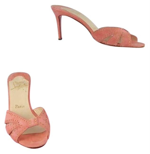 Item - Pink Peach Kitten Heel Mules/Slides Size EU 37 (Approx. US 7) Regular (M, B)