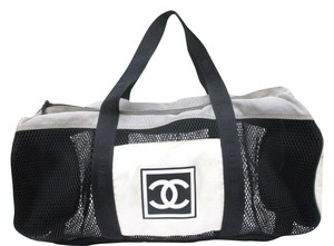 Chanel White And Black Beach Bag