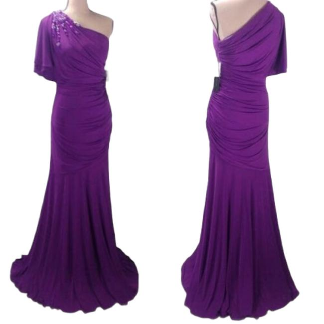 Item - Purple Jersey Ruched Mermaid Long Formal Dress Size 6 (S)