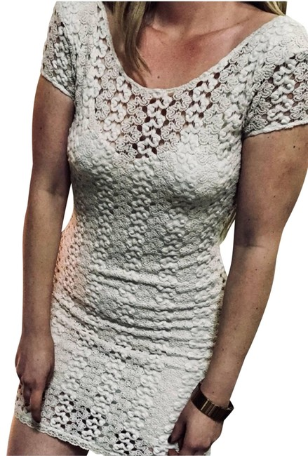 Item - White Cream Crochet Lace Scoop Neck Bodycon Sleeve Short Casual Dress Size 4 (S)