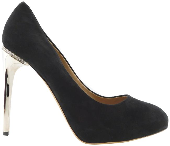 Item - Black Suede Leather Crystal Trim Pumps Size US 8.5 Regular (M, B)