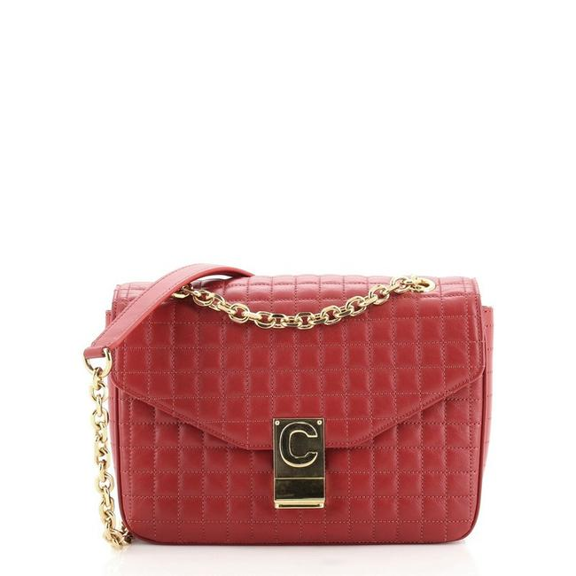 Item - C Quilted Medium Red Leather Cross Body Bag