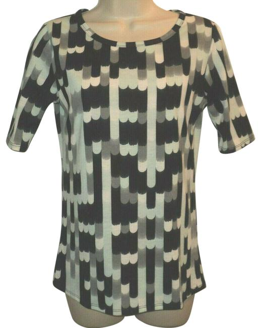 Item - Black Gray White Aqua Gigi Style Sleeves Geometric Design Rounded Neckline Tee Shirt Size 6 (S)