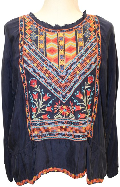 Item - Multicolor Johnny Was Embroidered Long Sleeve Tunic Blouse Size 12 (L)