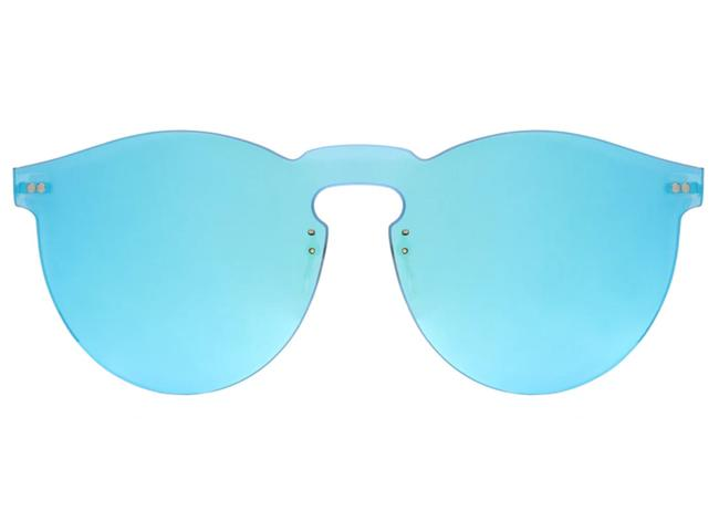 Item - Light Blue and Gold Leonard 2 Mask C6 50mm Rimless Mirror Hand Made Italy Sunglasses