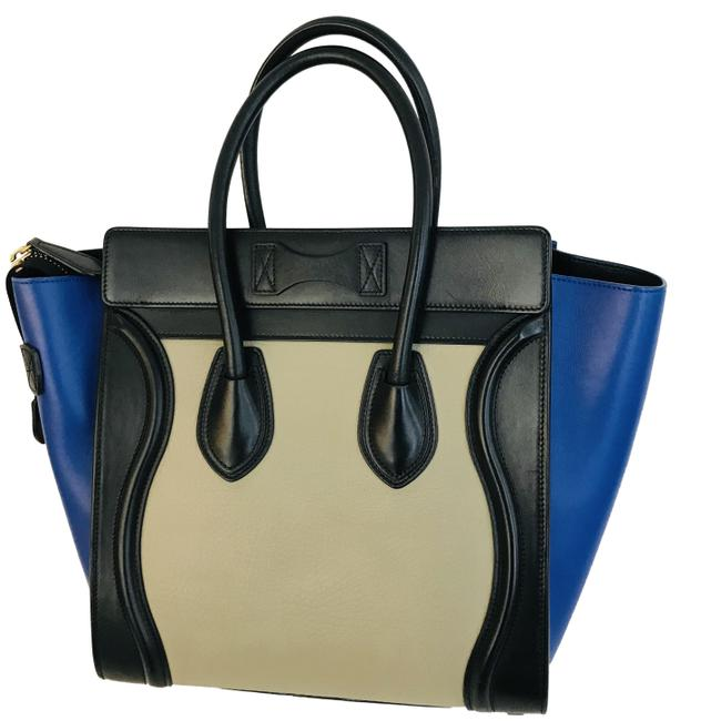 Item - Luggage Tricolor Elephant Micro Blue Leather Tote