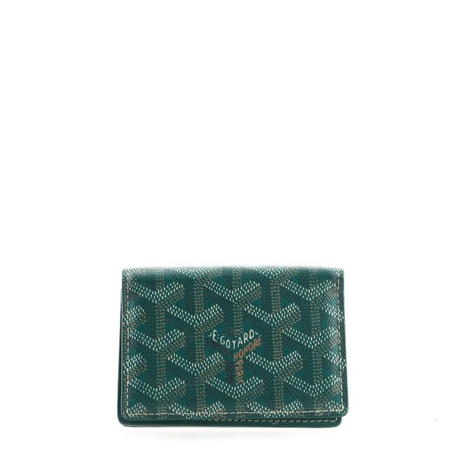 Item - Green Business Card Case Coated Canvas Wallet