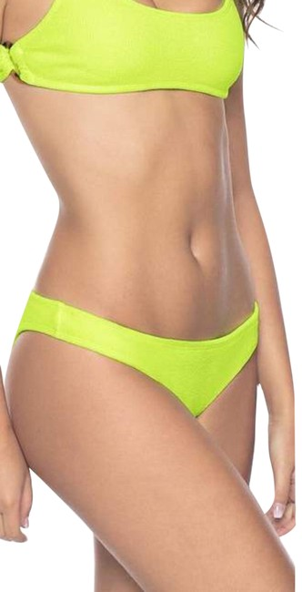 Item - Neon Yellow Green Pineapple Reef Teeny Textured Cheeky Bikini Bottom Size 12 (L)
