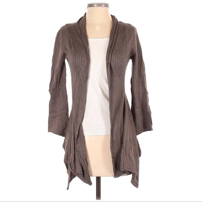 Item - Brown Open Front 3/4 Sleeve Cardigan Size 6 (S)