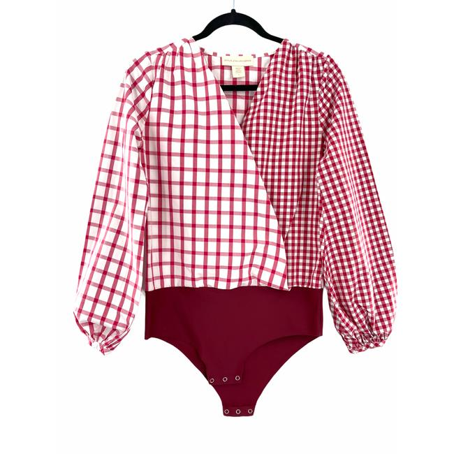 Item - Red Anthro Child Of The Sun Plaid Bodysuit Tee Shirt Size 4 (S)