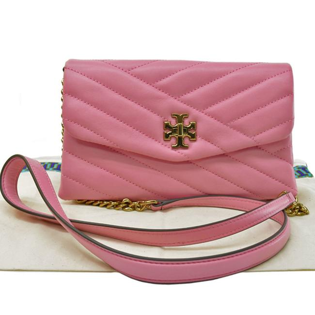 Item - Gold Accessory Pouch Ladies Pink Leather Shoulder Bag