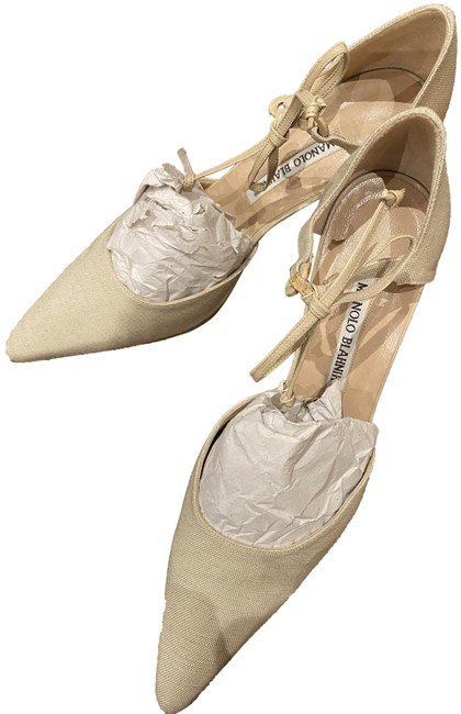 Item - Cream Fabric with Tie At Ankle Pumps Size EU 38.5 (Approx. US 8.5) Narrow (Aa, N)