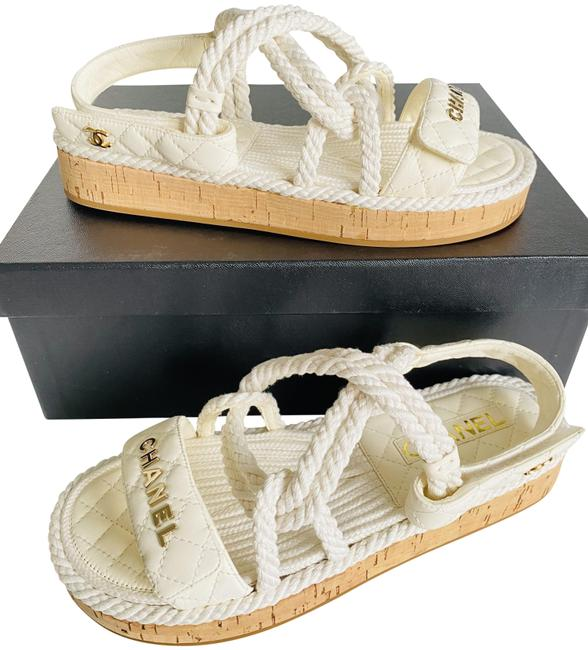 Item - White 20s Cord Rope Quilted Cc Logo Mule Slide Strap Sandal Flats Size EU 38 (Approx. US 8) Wide (C, D)