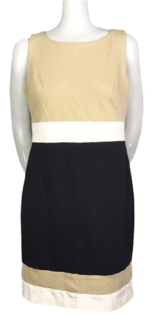 Item - Tan Black Colorblock Sheath Mid-length Work/Office Dress Size 10 (M)