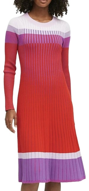 Item - Red Pink & Purple Ribbed Color Block Long Sleeve Fit Flare Sweater Mid-length Work/Office Dress Size 8 (M)